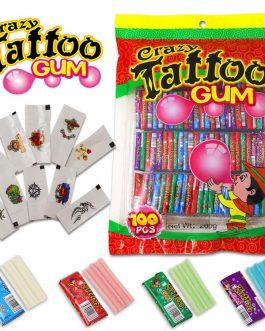 Guma Balonowa Z Tatuażem Crazy Tattoo 100 Szt.