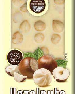 Chocoyoco czekolada 25% biała z całymi orzechami laskowymi 100g